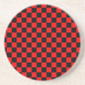 Black and Red Checkered Pattern Coaster