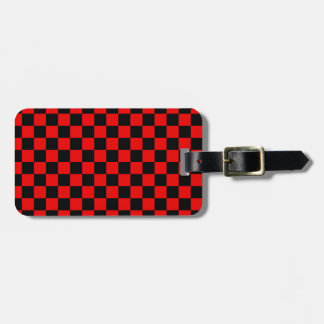 Black and Red Checkered Pattern Luggage Tag