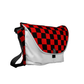 Black and Red Checkered Pattern Messenger Bags