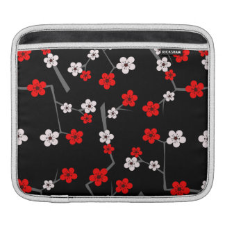Black and Red Cherry Blossom Pattern iPad Sleeve