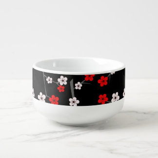 Black and Red Cherry Blossom Pattern Soup Bowl With Handle