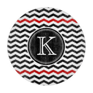 Black and Red Chevron Monogram Cutting Board