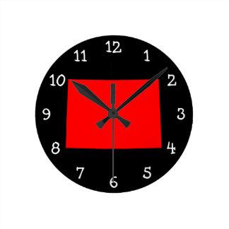 Black and Red Colorado Round Clock