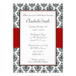 Black and Red Damask Bridal Shower Custom Announcements