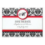 Black and Red Damask Monogram Save The Date Card Personalized Announcement