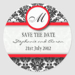Black and Red Damask Monogram Wedding Sticker