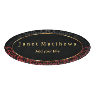 Black and Red Damask with Gold Trim Design 2 Name Tag