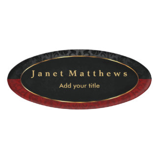 Black and Red Damask with Gold Trim Design Name Tag