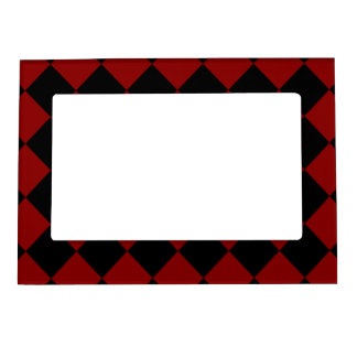 Black and Red Diamond Checker Print Magnetic Picture Frame