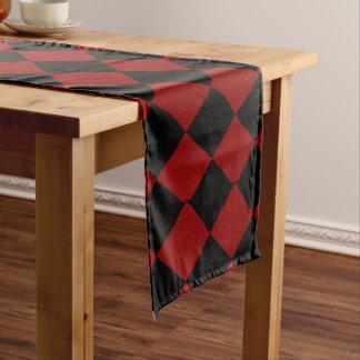 Black and Red Diamond Checker Print Medium Table Runner