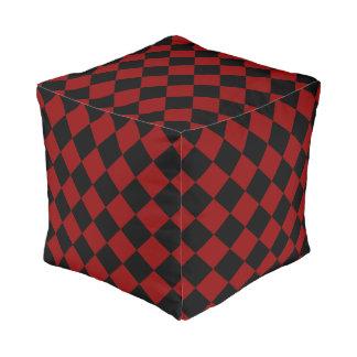 Black and Red Diamond Checker Print Pouf