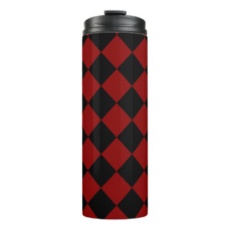 Black and Red Diamond Checker Print Thermal Tumbler