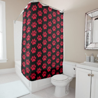 Black and Red Dog Paws Shower Curtain