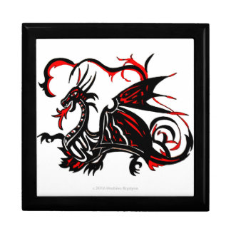 BLACK AND RED DRAGON LARGE SQUARE GIFT BOX