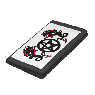Black and Red Dragons with Pagan Pentacle Tri-fold Wallet