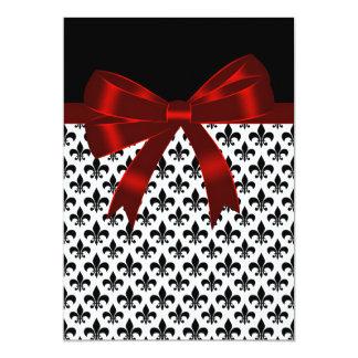 "Black and Red Fleur De Lis Wedding 5"" X 7"" Invitation Card"
