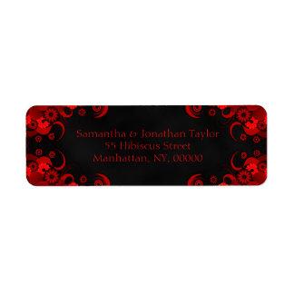 Black and Red Floral Wedding Return Address Labels