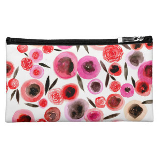 Black and Red Flowers Cosmetic Bag