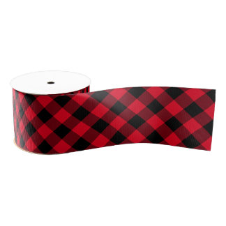 Black and Red Gingham Grosgrain Ribbon