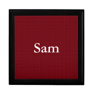 Black and Red Gingham Mens Large Square Gift Box
