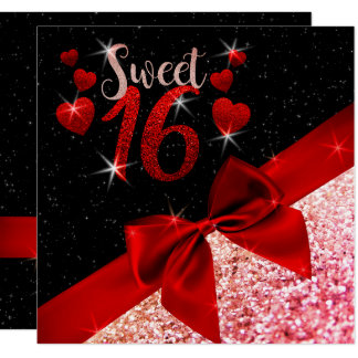 Black and Red Glittery Sweet 16 Invite