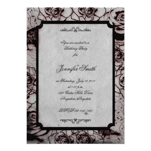 Black and Red Gothic Rose Birthday Invitation