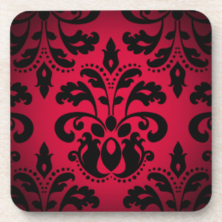 Black and red gothic victorian vintage damask coaster