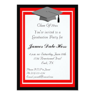 Black And Red Graduation Party Invitation