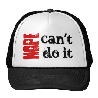 BLACK and RED Grunge Text CAN'T DO IT Cap