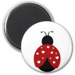 Black and Red Heart Ladybug Refrigerator Magnets