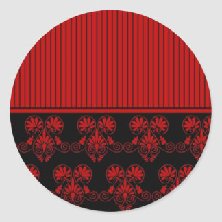 Black and Red Heart Pattern 2 Stickers