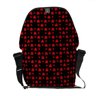 Black and Red heart pattern Messenger Bag