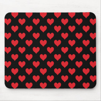 Black and Red Heart Pattern Mouse Pad