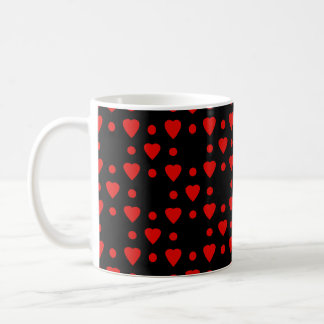 Black and Red heart pattern Coffee Mug