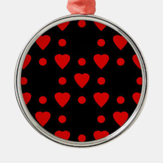 Black and Red heart pattern Silver-Colored Round Decoration