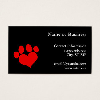 Black and Red Heart Paw Print