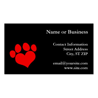 Black and Red Heart Paw Print Pack Of Standard Business Cards