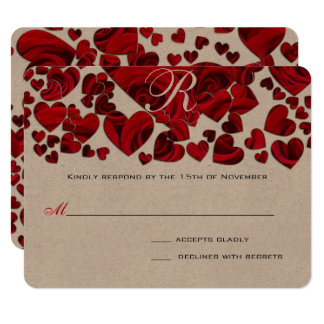 Black and Red Heart Roses Wedding Save the Date Card