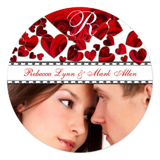 """Black and Red Heart Roses Wedding Save the Date 5.25"""" Square Invitation Card"""