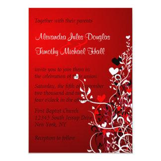 Black and red heart swirls wedding 5x7 invitation