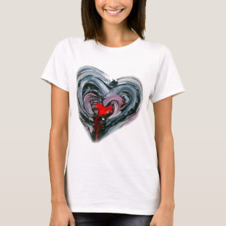 Black and red heart T REDO T-Shirt