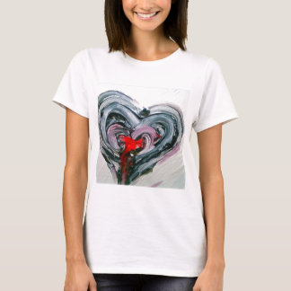 Black and red heart T T-Shirt