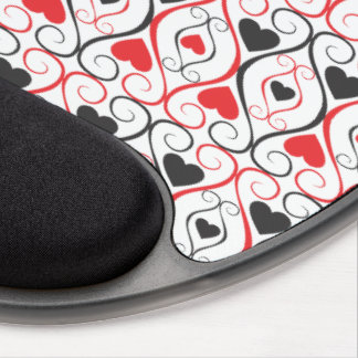 Black And Red Hearts Pattern Gel Mouse Pads
