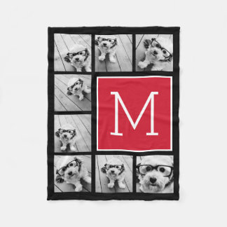 Black and Red Instagram 8 Photo Collage Monogram Fleece Blanket