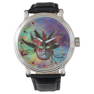 BLACK AND RED JESTER MASK Blue Masquerade Party Wrist Watch