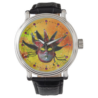 BLACK AND RED JESTER MASK  Masquerade Party Yellow Wristwatches