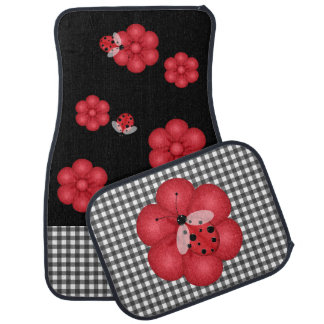 Black and Red Ladybug Car Mats