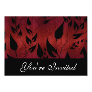 Black and red leaves party invitation