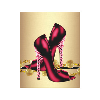 Black and Red Leopard High Heel Shoes Boutique Canvas Print