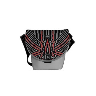 Black and Red Maze Abstract w/Silver Dust Messenger Bag